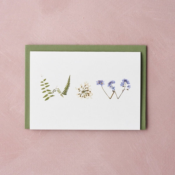 WOW pressed flower message card