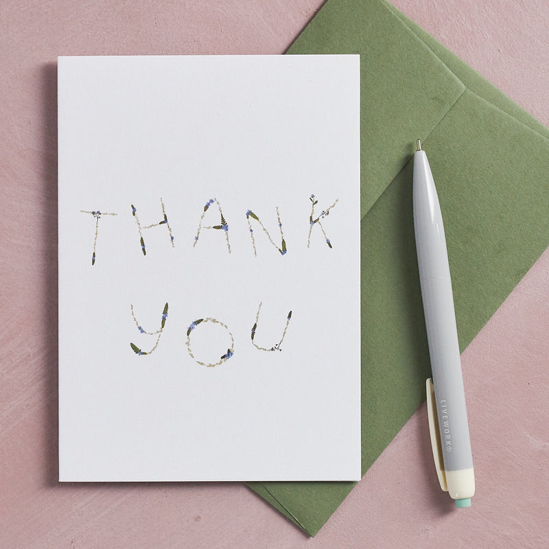 THANK YOU pressed flower message card