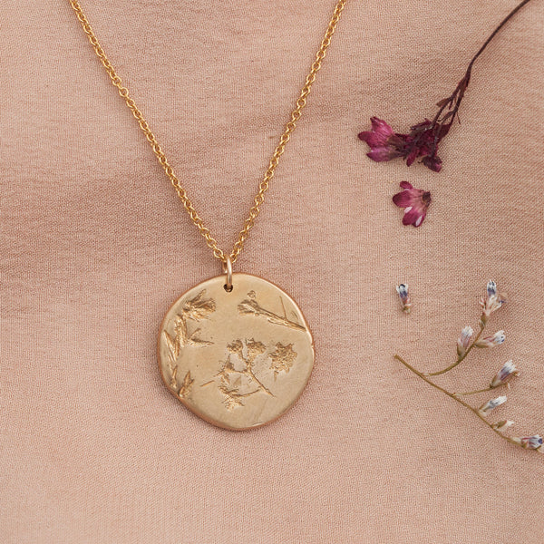 Hand Cast Pressed Flower Necklace | Limonium