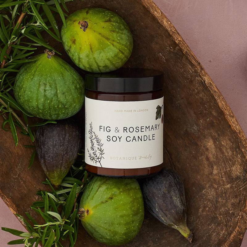 Hand-poured Fig & Rosemary scented Soy Candles