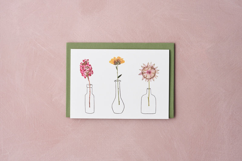 Pressed Flower Vases Greetings Card - Astrantia