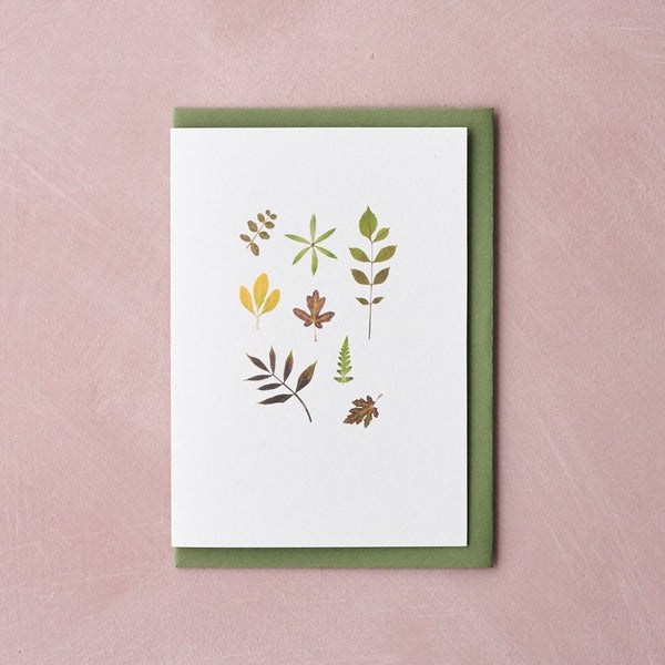 Pressed Flower Botanical Greetings Card - Foliage