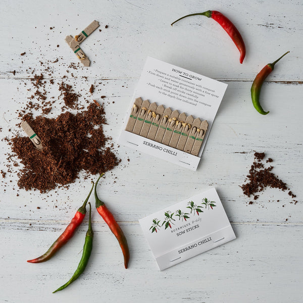 Sow Sticks - Serrano Chilli, Wildflower Meadow, Mixed Herbs.