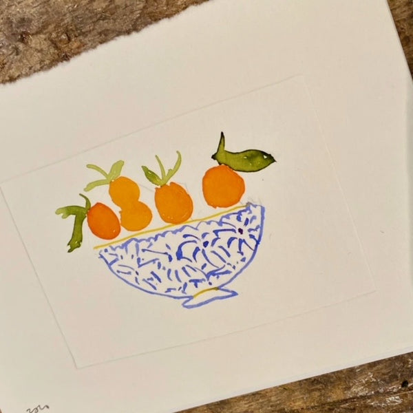 Meg Fatharly Oranges in Decorative Bowl Embossed Drawing, Signed