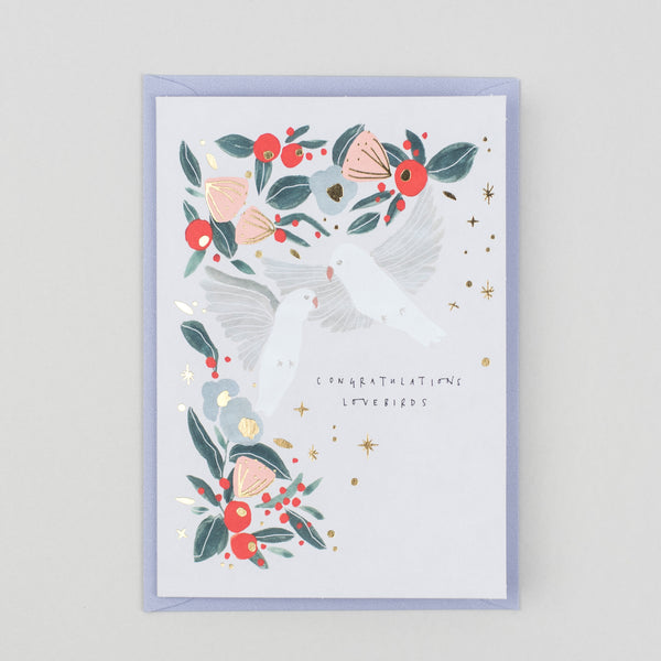 Congratulations Lovebirds Greetings Card