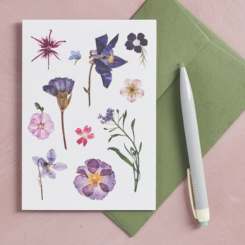 Pressed Flower Botanical Greetings Card - Mid Summer
