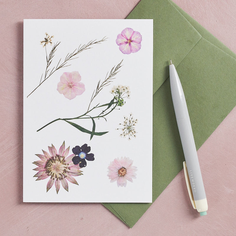 Pressed Flower Botanical Greetings Card - Summer Pastels
