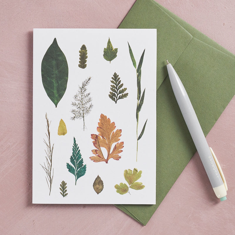 Pressed Flower Botanical Greetings Card - Leaf Study