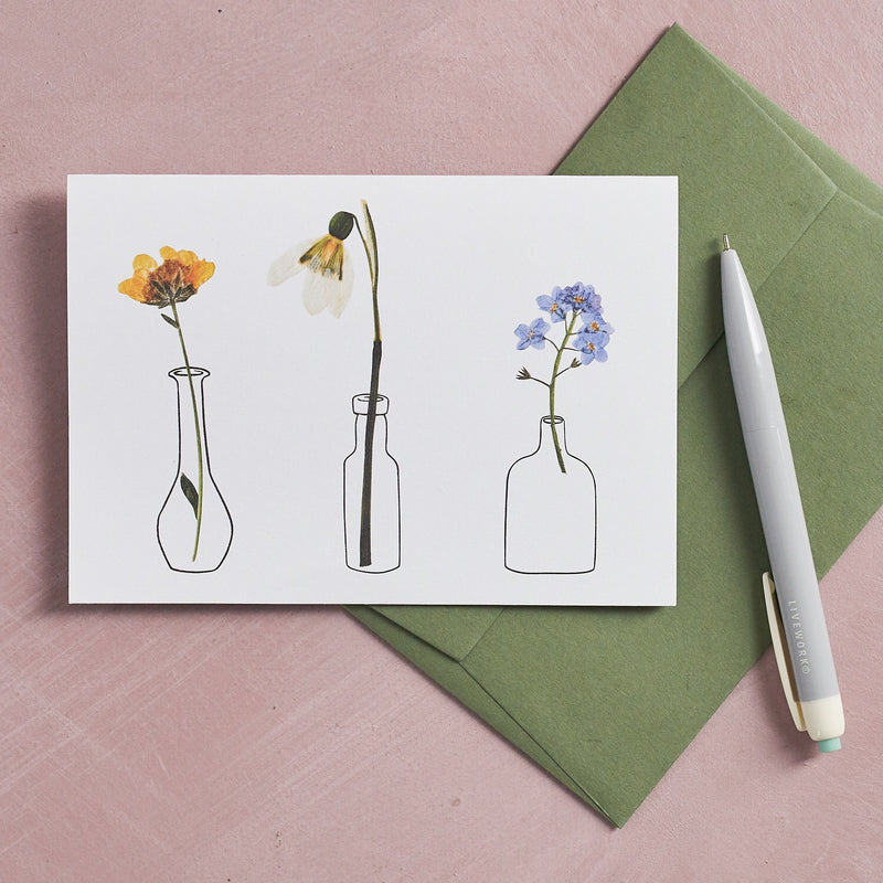 Pressed Flower Vases Greetings Card - Snowdrop