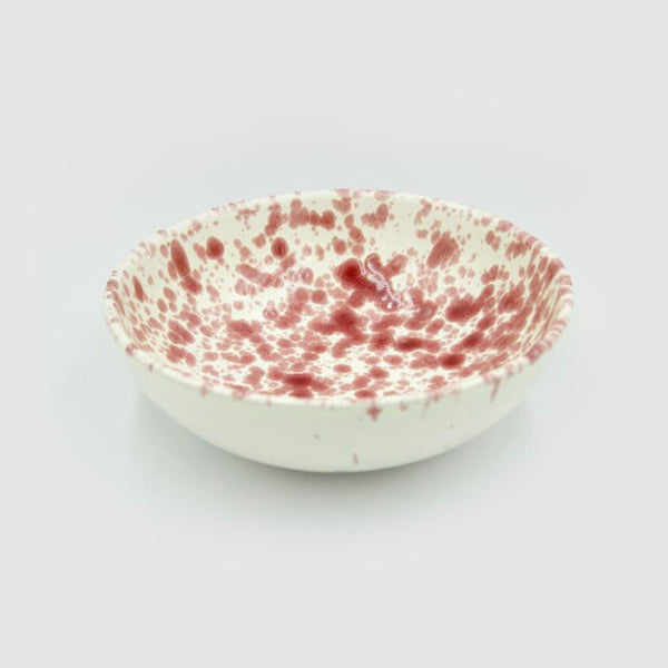 Ceramic Splatterware Pasta Bowl by Hot Pottery in Cranberry