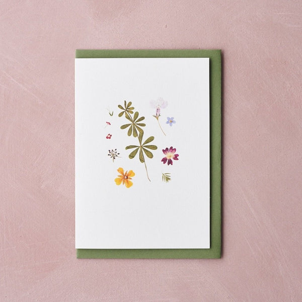 Pressed Flower Botanical Greetings Card - Early Summer