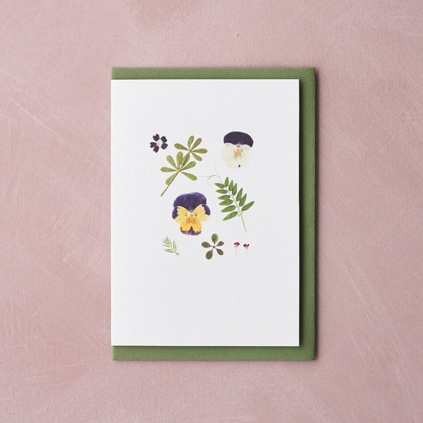 Pressed Flower Botanical Greetings Card - Pansy
