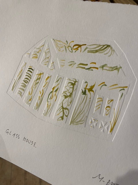 Meg Fatharly Glass House Drawing, Signed