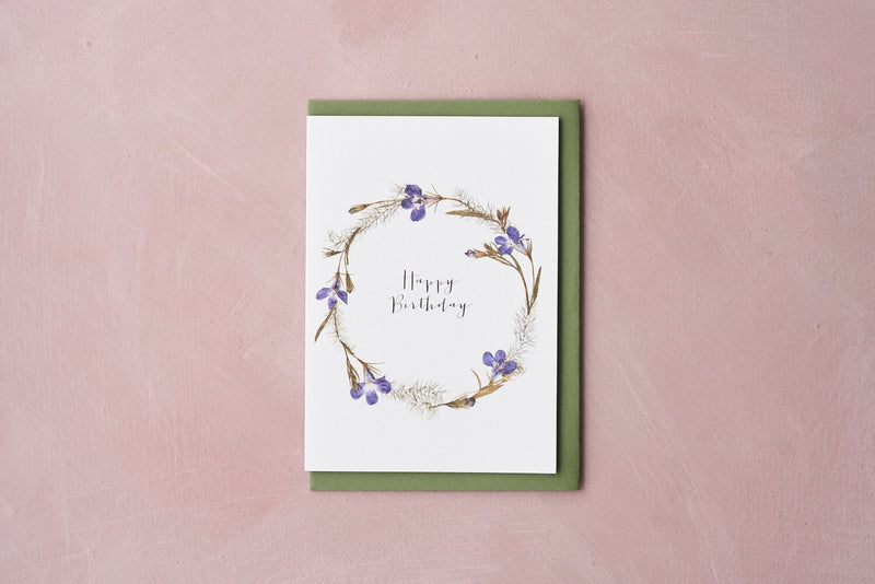 Happy Birthday Pressed Flower Wreath Card - Iris