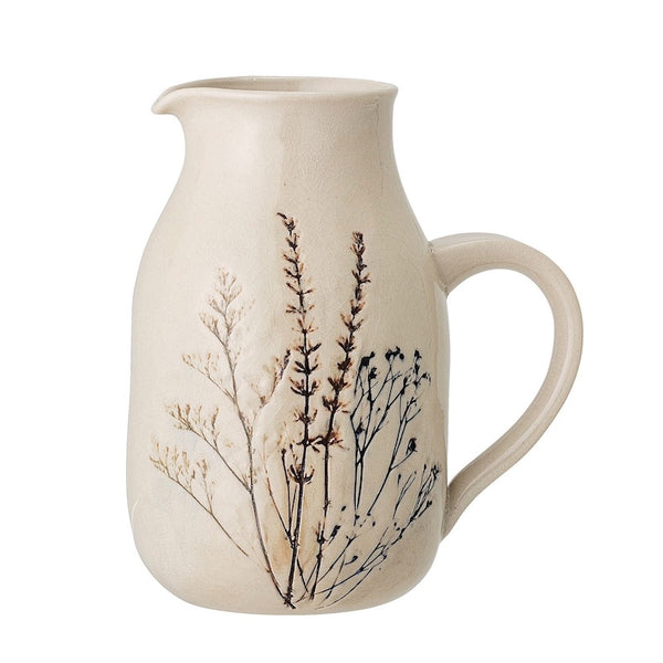 Pressed Flower Stoneware Jug