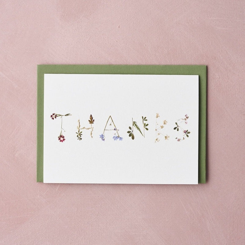 THANKS pressed flower message card