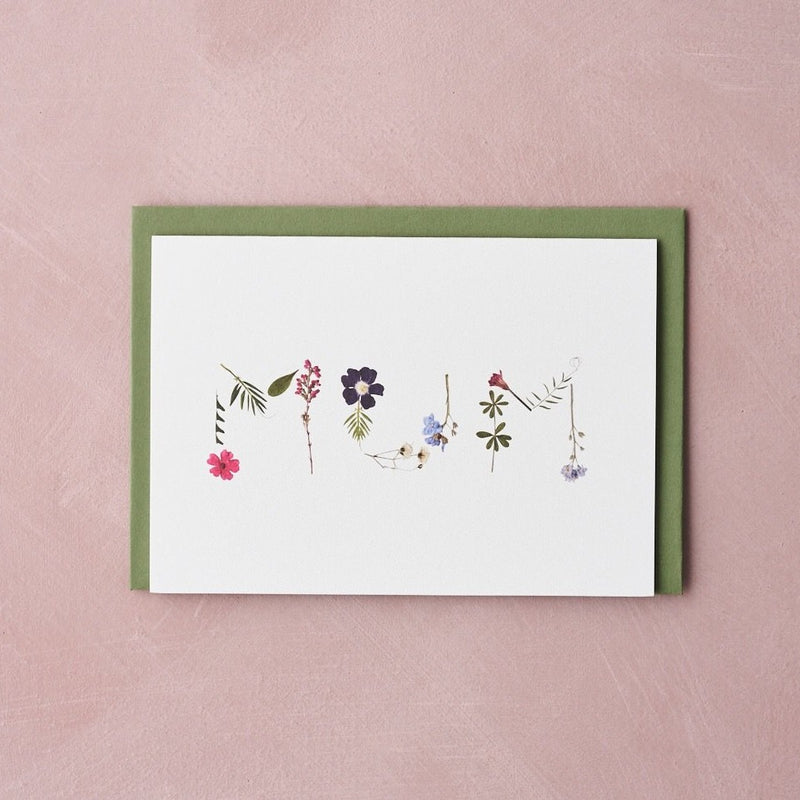 MUM pressed flower message card