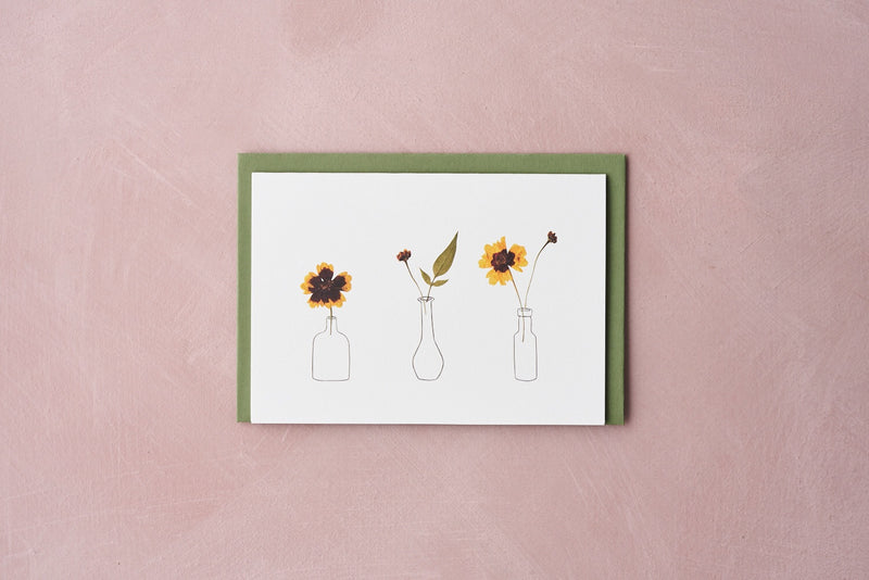 Pressed Flower Vases Greetings Card - Coreopsis