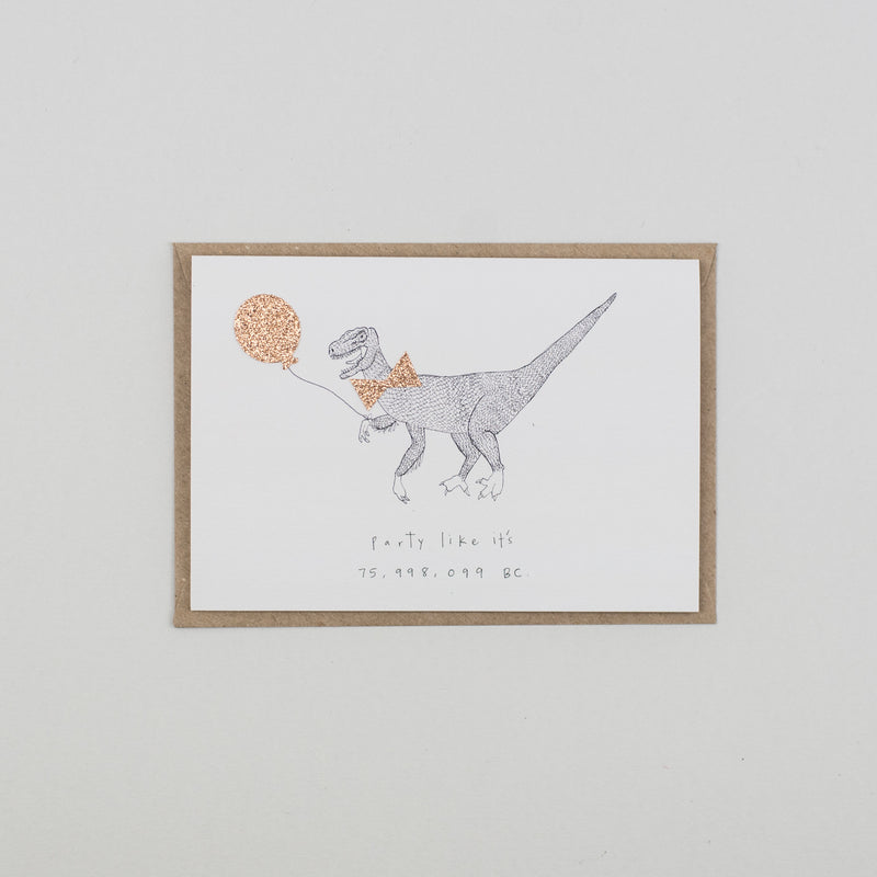 Party Like Dinosaur Greetings Card