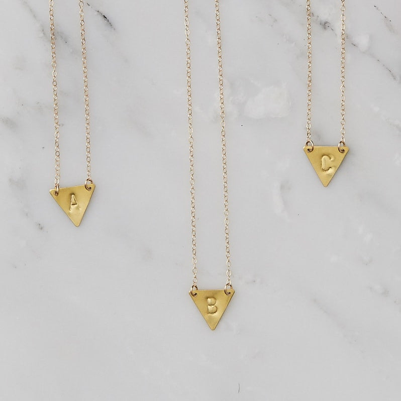 Brass Triangle Initial Necklace Handmade by Botanique Workshop