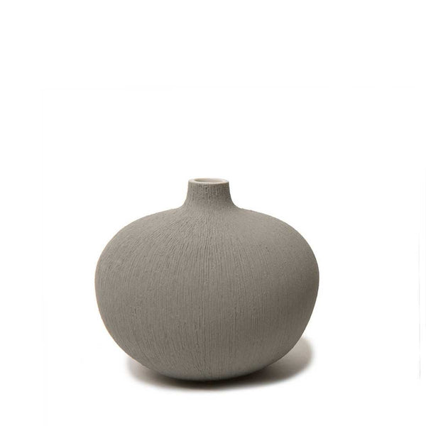 Bari Grey Lindform Vase with Carved Stripes Small