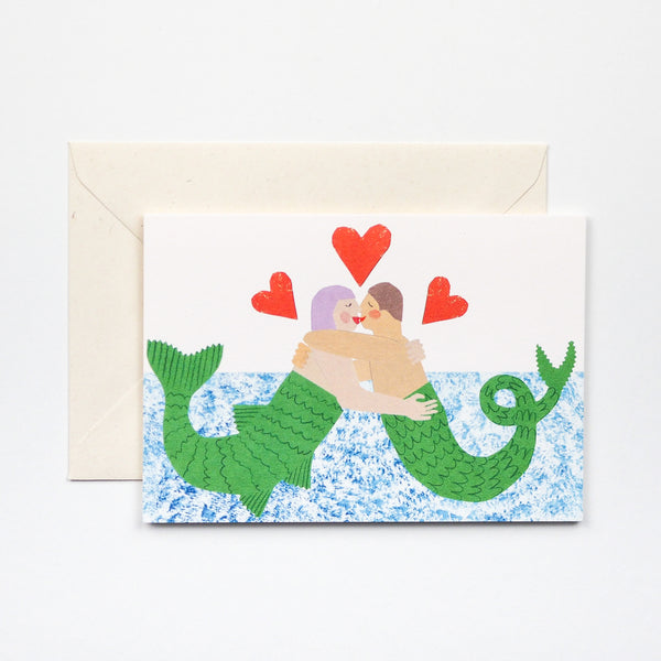Mermaids in Love Greetings Card