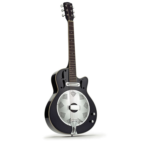 Ozark 3515E Electro-Acoustic Resonator Guitar Black Cutaway Lipstick Pickup
