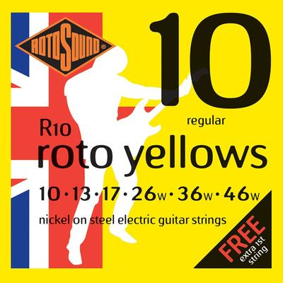 Rotosound R10 Roto Yellows 10-46 Electric Guitar Strings x 3 Sets Free Shipping At Cart
