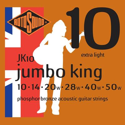Rotosound JK10 Jumbo King 10-50 Phosphor Bronze Extra Light Acoustic Guitar Strings x 3 Sets Free Shipping At Cart