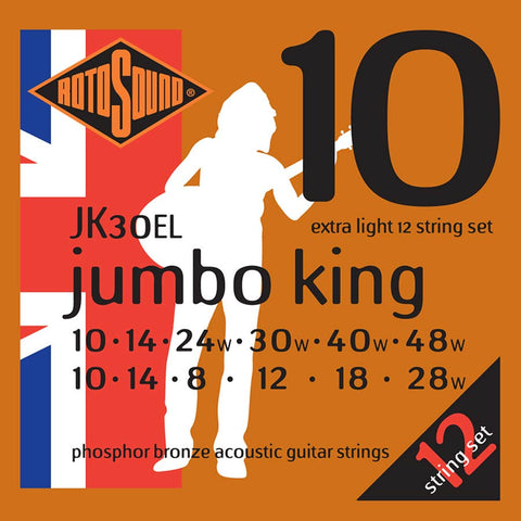 Rotosound JK30EL Jumbo King 10-48 Phosphor Bronze Extra Light 12 String Acoustic Guitar Set