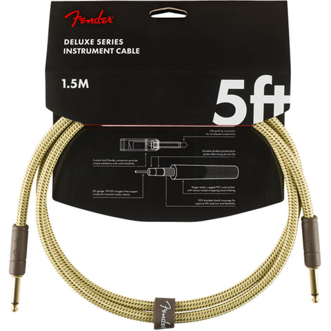 Fender Deluxe Series Instrument Cable - Tweed 5ft 1.5m