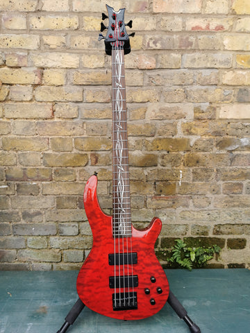 Dean Vendetta 5 String Bass Preowned Flame Red
