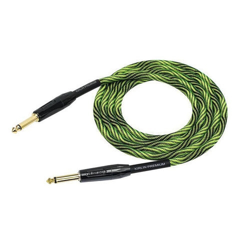 Kirlin High Quality Fabric Premium Wave Series Green/Black Guitar Lead 10ft 3m Straight to Straight Free Shipping At Cart