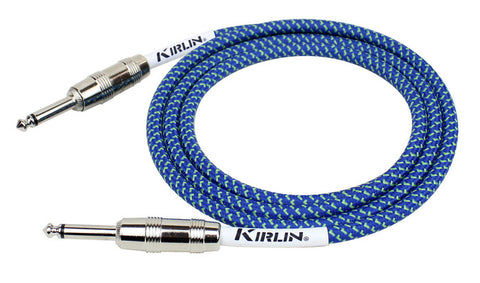 Kirlin Fabric Coated Blue Guitar Lead 20ft 6m Straight to Straight Free Shipping At Cart