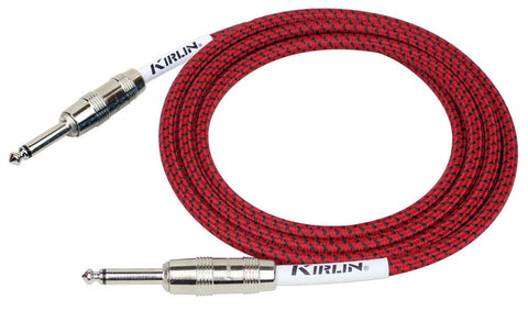 Kirlin Fabric Coated Black and White Guitar Lead 10ft 3m Straight to Right Angled