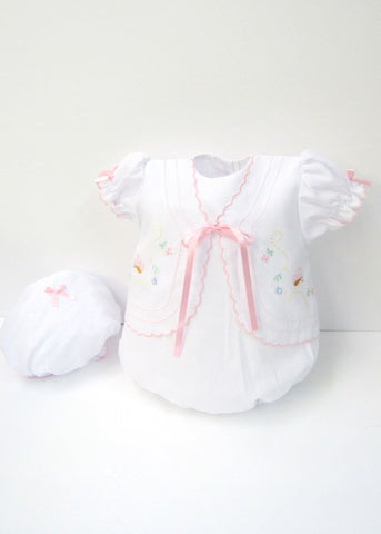 Will'beth Girls Butterfly Bubble Romper & Vintage Cap Preemie Newborn