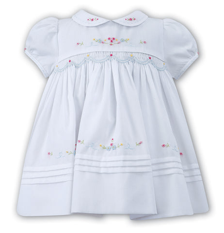 Sarah Louise Baby Girls White Pink Blue Classic Hand Smocked Dress 3 6 9 Months