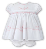 Sarah Louise Girls White & Cerise Pink Smocked Dress with Ruffle Bloomers Preemie Newborn 3 6 12 18 24 Months