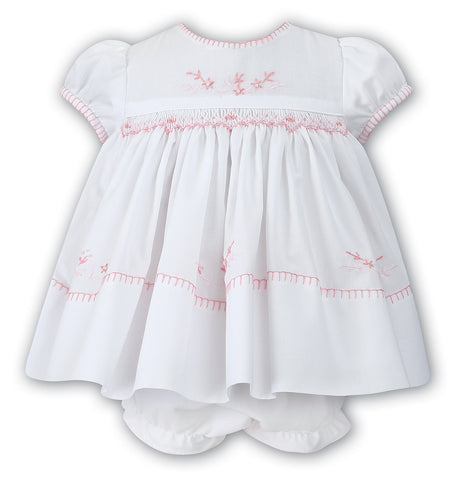 Sarah Louise Girls White & Cerise Pink Smocked Dress with Ruffle Bloomers 12 18 24 Months