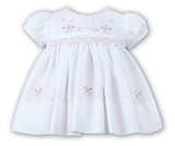 Sarah Louise Baby Girls White Floral Smocked Dress Preemie Newborn