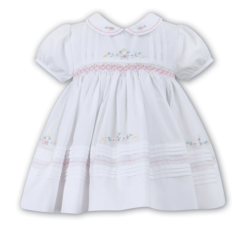 Sarah Louise Baby Girls White Pink Smocked Dress 3 6 9 Months