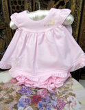 Will'beth Pink Open Back Ruffle 2pc Dress with Bloomers Newborn