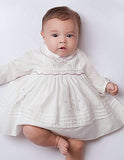 Sarah Louise Girls Ivory Lavender Smocked Dress 3 6 12 18 24 Months