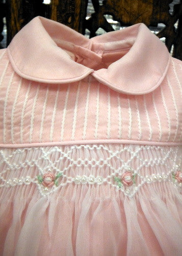 Will Beth Girls Pink Sheer Overlay Rose Smocked Dress With