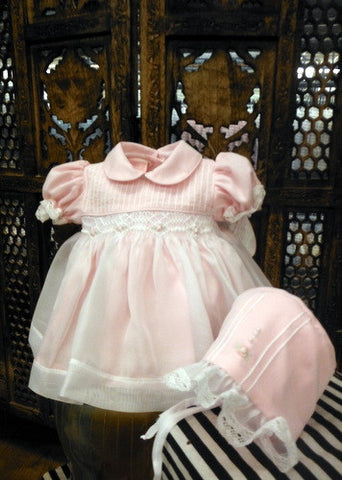 Will'beth Girls Pink Sheer Overlay Rose Smocked Dress with Bonnet Preemie Newborn 3 6 9 Months