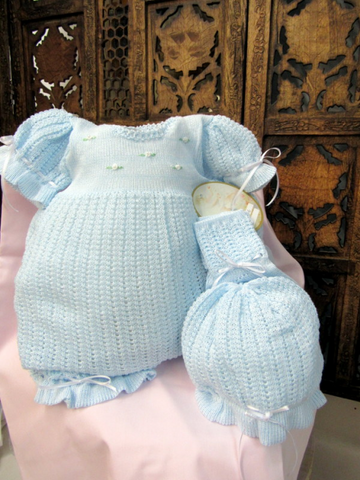 Will'beth Blue Knit Ribbon 3pc Bubble Romper Set Baby Girls Newborn & Preemie