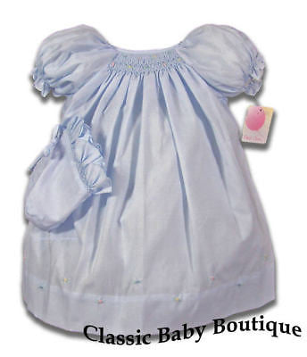 Petit Ami Girls Blue Smocked Daygown Bishop Dress & Bonnet Newborn