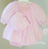 Petit Ami Pink Gingham Floral Smocked Long Sleeve Bishop Dress Baby Girls Preemie & Newborn