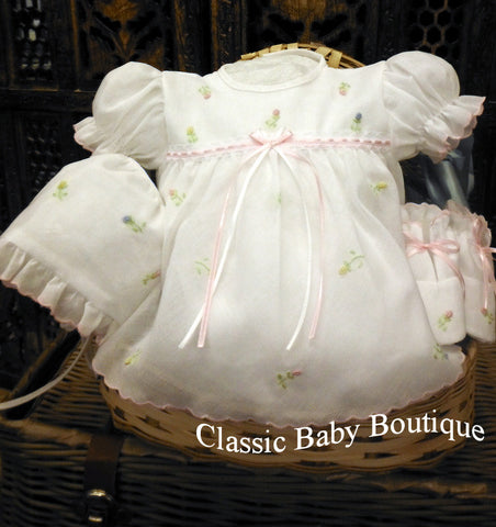 Will'beth White Baby Girls 4pc Diaper Set Bonnet & Booties Preemie & Newborn