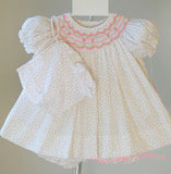 Petit Ami Ivory Rose bud Girls Floral Smocked Dress & Bloomers Newborn 3 6 Months